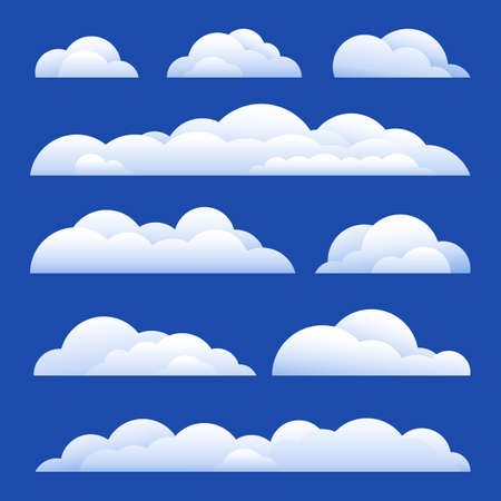 Vector Illustration. Set of clouds isolated on background