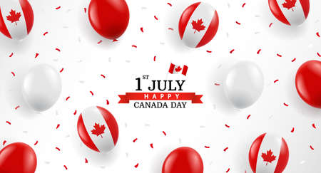 Vector Illustration of Canada day. Background with balloons and confetti.