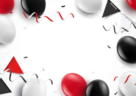 Vector illustration. Festive background with balloons ribbons flags