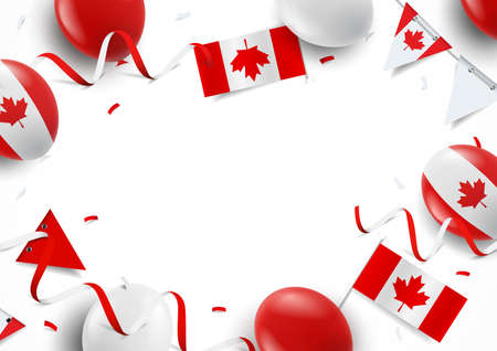 Vector Illustration of Canada day. Background with balloons, flags 일러스트