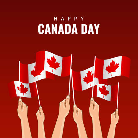 Vector Illustration of Canada day. Hands with flags of Canada