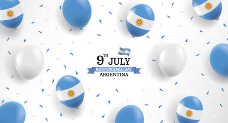 Vector Illustration of Independence Day of Argentina. Background with balloons and confetti.