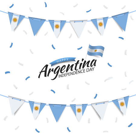 Vector Illustration of Independence Day of Argentina. Garland with the flag of Argentina on a white background.