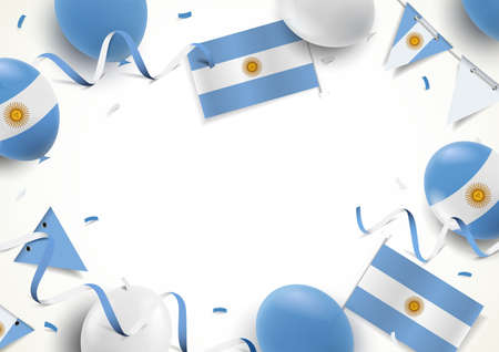 Vector Illustration of Independence Day of Argentina. Background with balloons, flags 일러스트