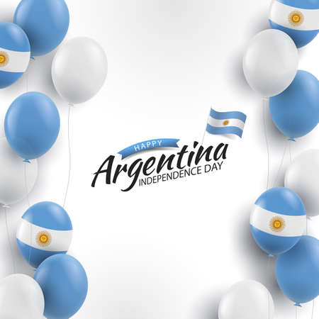 Vector Illustration of Independence Day of Argentina. Background with balloons