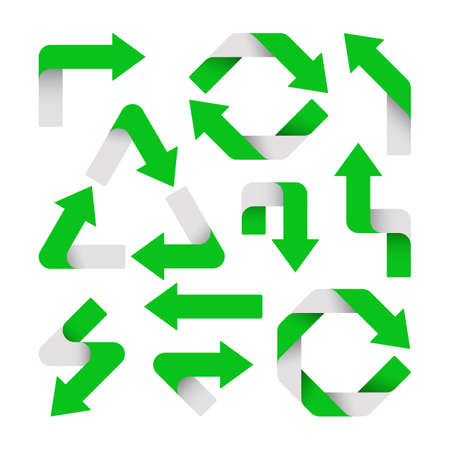 Vector Illustration. Set of green arrows are isolated.