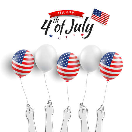 Vector illustration of the Fourth of July. Hands with US flag balloons 일러스트