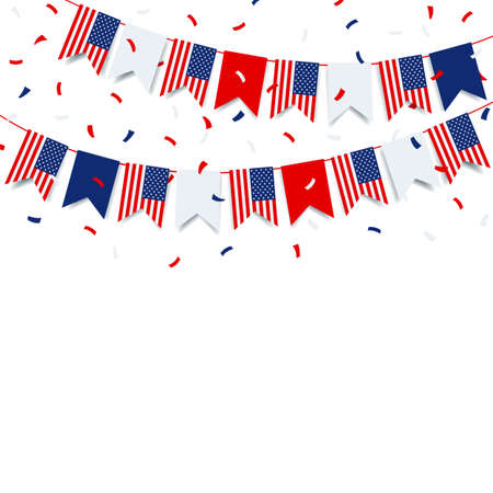 Vector Illustration of the Fourth of July. Garland with the flag of US on a white background.