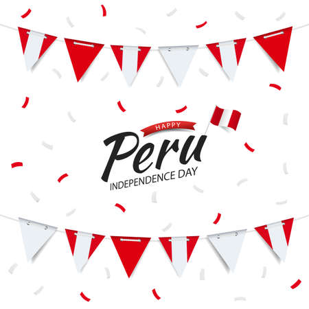 Vector Illustration of Peru Independence Day. Garland with the flag of Peru on a white background.