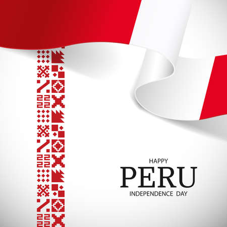 Vector Illustration of Peru Independence Day. National pattern.