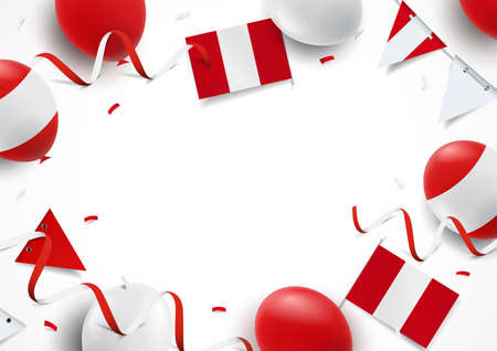 Vector Illustration of Peru Independence Day. Background with balloons, flags