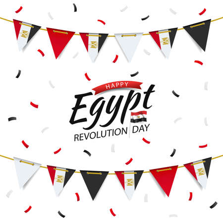 Vector Illustration of Revolution Day Egypt. Garland with the egyptian flag on a white background. 일러스트