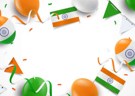 Vector Illustration of India Independence Day. Background with balloons, flags 일러스트