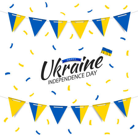 Vector Illustration of Ukraine Independence Day. Garland with the flag of Ukraine on a white background.