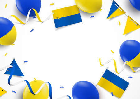 Vector Illustration of Ukraine Independence Day. Background with balloons, flags 일러스트