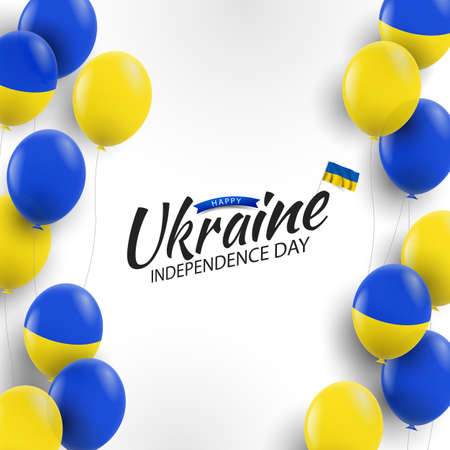 Vector Illustration of Ukraine Independence Day. Background with balloons