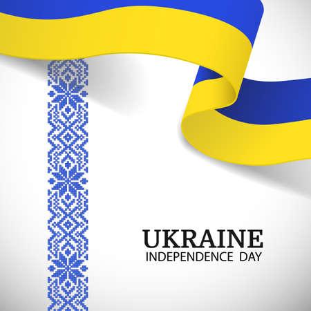 Vector Illustration of Ukraine Independence Day. National pattern.