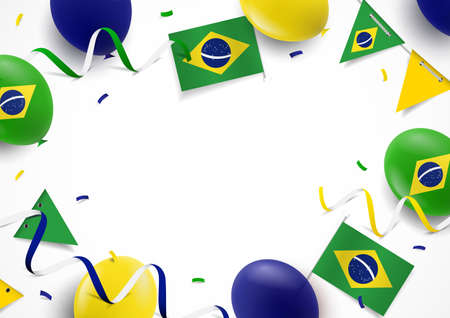 Vector Illustration of Brazil Independence Day. Background with balloons, flags 일러스트