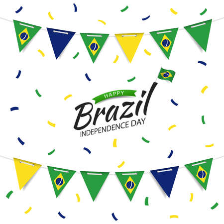Vector Illustration of Brazil Independence Day. Garland with the flag of Brazil on a white background.