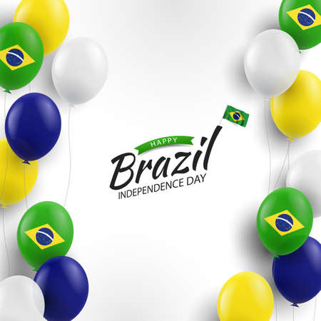 Vector Illustration of Brazil Independence Day. Background with balloons 일러스트