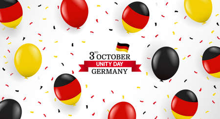 Vector Illustration of German Unity Day. Background with balloons and confetti. 일러스트