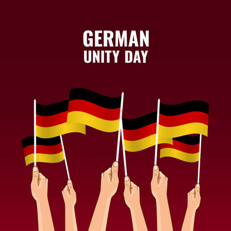 Vector Illustration of German Unity Day. Hands hold the flags of the country