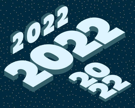 Vector illustration of New Year 2022. Isometric style.