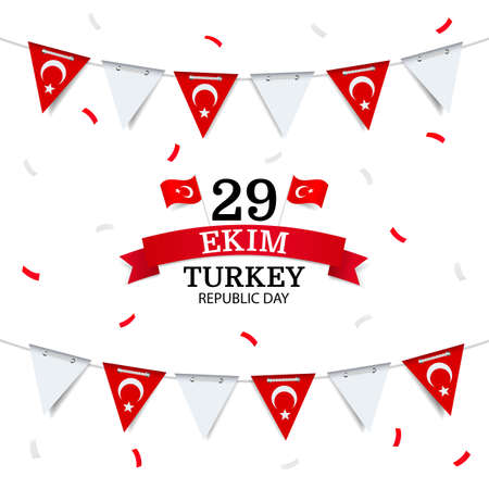 Vector illustration of Republic Day of Turkey. Garland with the flag of Turkey on a white background.
