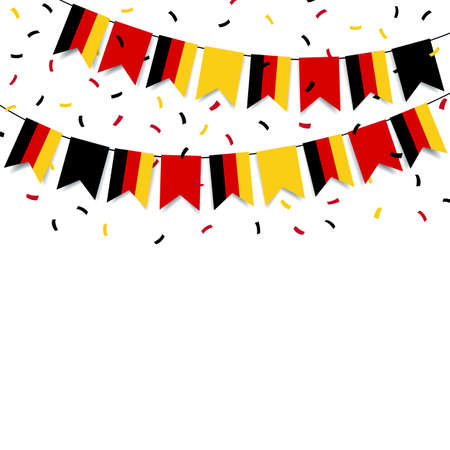 Vector Illustration of German Unity Day. Garland with the flag of Germany on a white background. 일러스트