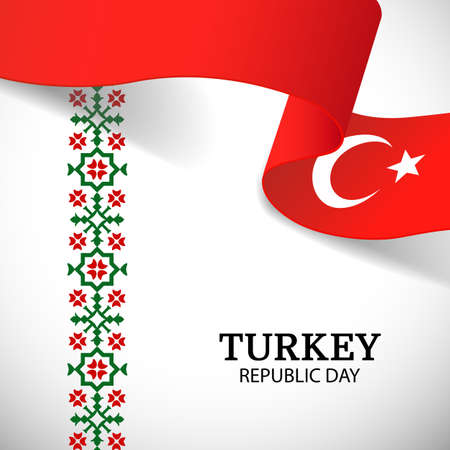 Vector illustration of Republic Day of Turkey. National pattern.