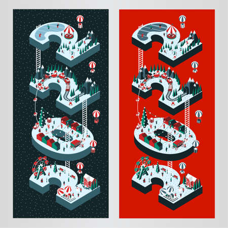 Vector illustration on the theme New Year 2022. Isometric style. Happy people are having fun and celebrating winter holidays. For a poster or banner and greeting card. 일러스트