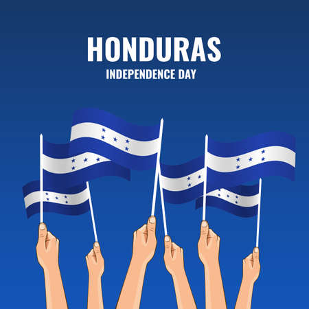 Vector Illustration of Honduras Independence Day. Hands with flags of Honduras