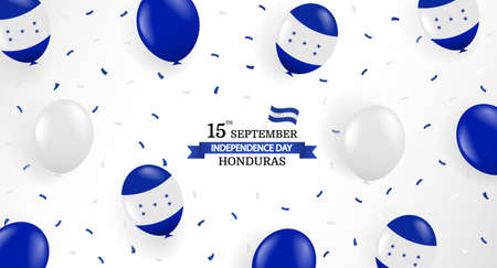 Vector Illustration of Honduras Independence Day. Background with balloons and confetti. 일러스트