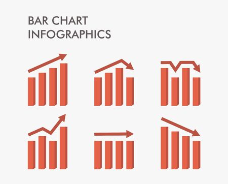 Set of bar charts. that up, down, and flat. Infographic design template. Vector illustration for statistical report. Vector. Flat design.