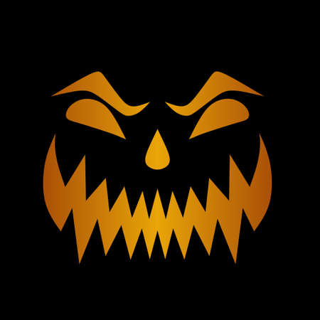 Scary smile face trademark of Halloween day with orange and yellow gradient colors. Black background. 矢量图像