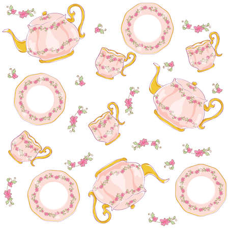 Tea Sets Vintage Vector