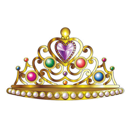 Golden Crown with Jewels and Pearls Vector
