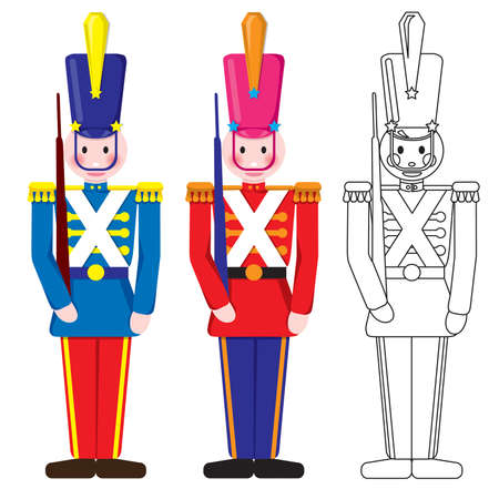 toy soldier: Vintage Happy Toy Soldier Blue, Red and Outline