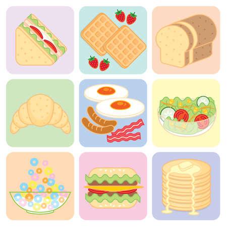 breakfast food: Colorful Breakfast Food Set