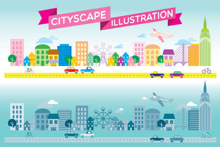 community cloud: Colorful and monotone cityscape icon flat style vector