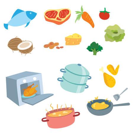 El conjunto de vectores de cocina incluye equipo, comida, carne y verduras.