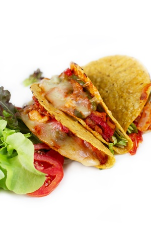 three home mand delicious tacos seafood mexican food whit vegetable on white background photo