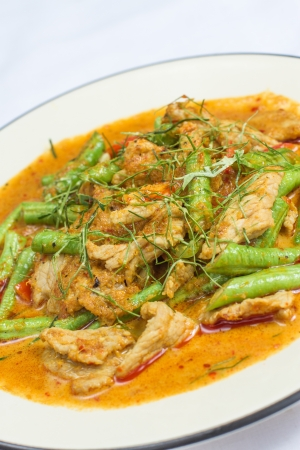 hot Thai red curry with Chicken with Green Beans and Kaffir lime leaves Stock Photo - 20194731