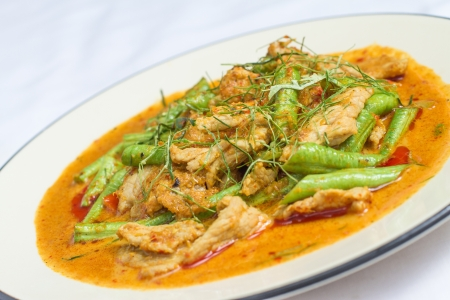 hot Thai red curry with Chicken with Green Beans and Kaffir lime leaves Stock Photo - 20194727