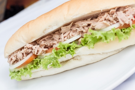 tuna mayo: tuna sandwich baguette with and vegetables home made on white dish