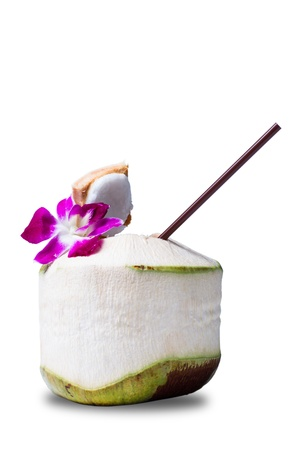 coconut drink: Fresh Coconut Water Drink on white background