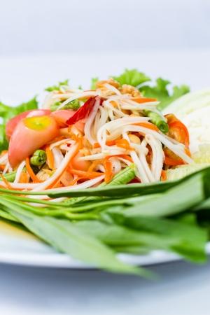 Som Tum Thai, Young papaya salad Stock Photo - 20920262