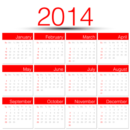 Simple 2014 year calendar red Vector