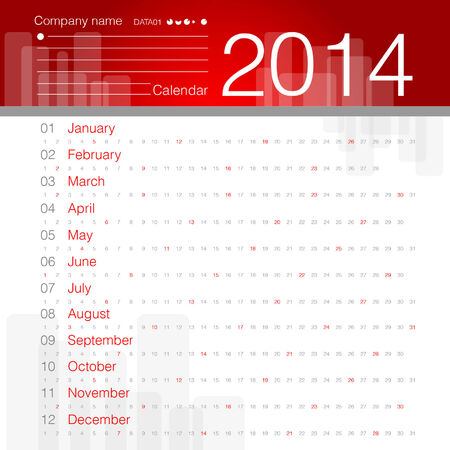 Simple 2014 year vector calendar white and red theme Vector