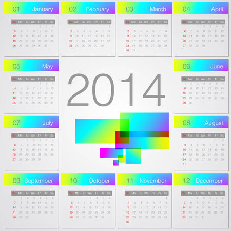 Simple 2014 year vector calendar Vector
